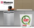 Упаковка Fairy Platinum для мытья посуды из 18 капсул за посудомоечную машину HANSA.